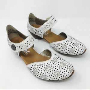 Rieker Mirjam White Leather Mary Janes Euro Shoes